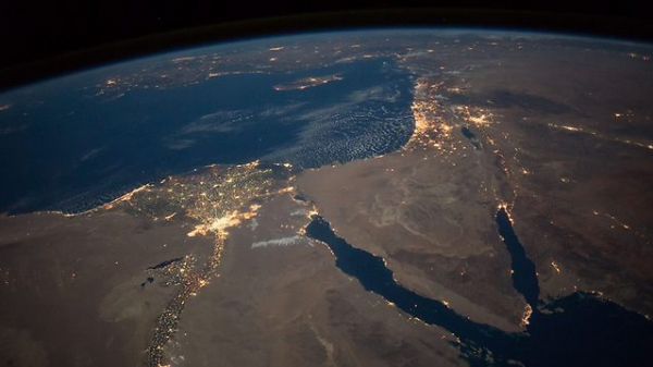 Israel and Egypt from space at night - Photo by NASA