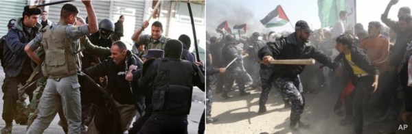 PA police (left) Gaza security (right) - Photo source: CAMERA