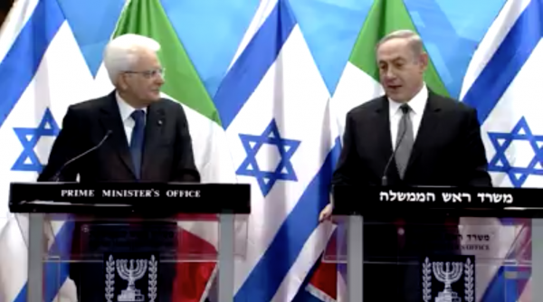 PM Benjamin Netanyahu's remarks at the start of his meeting with Italian President Sergio Mattarellan - Screenshot from PMO clip on Facebook