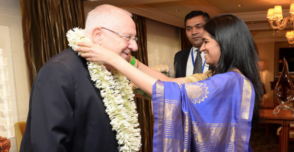 Rivlin welcomed in India - Photo: Mark Neiman, Israel's GPO.