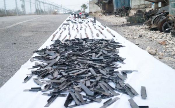 Discovered submachine-gun barrels & weapon's parts - IDF Spokesperson's Unit