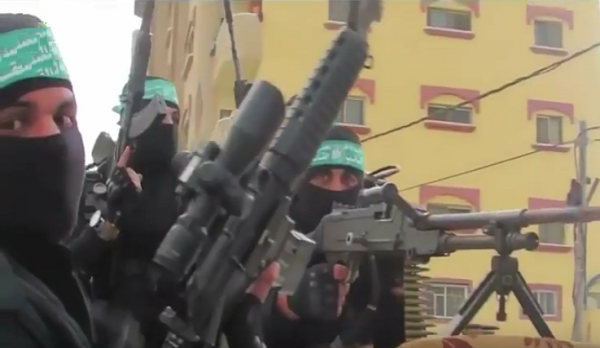 Hamas militants in a pompous parade - Youtube screenshot