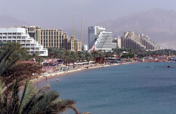 Hotels along the North Beach, Eilat - Photo Attribution- Henrik Sendelbach/Wikimedia Commons