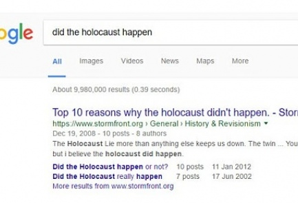 "The results of the Google search for ""Did the Holocaust happen?"" - Photo- Screenshot"