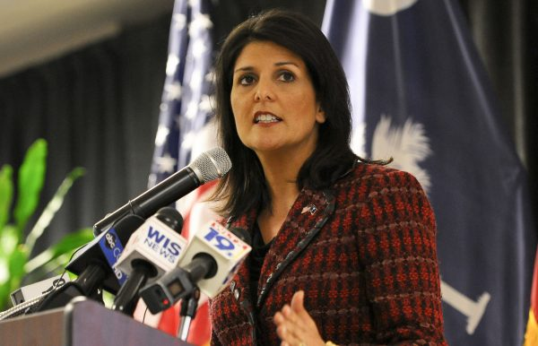 Then S. Carolina Gov. Nikki Haley joined U.S. military service members for the launch of Operation Palmetto Employment - Photo: Wikimedia Commons/US Air Force