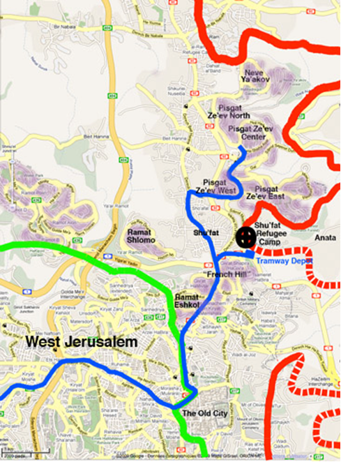 Israel and Stuff » Jerusalem light rail system route (in blue ...