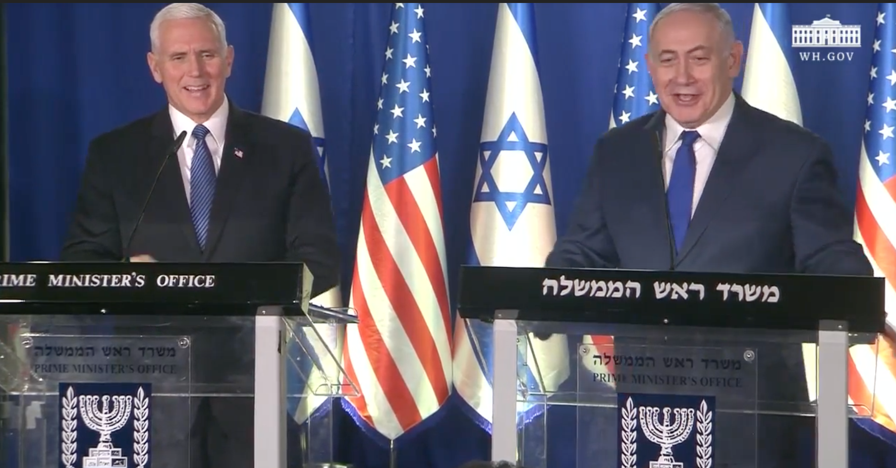 Israel and Stuff » WATCH: VP Pence Delivers Statement with
