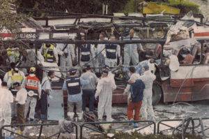 The aftermath of a bus bombing in Haifa in 2003. Photo: Wikimedia, B. Železník
