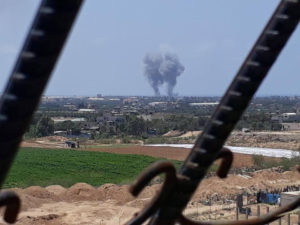 Smoke rises from the central Gaza Strip after Israeli air strikes in response to an earlier rocket barrage on southern Israeli communities, May 29, 2018 - Photo: Courtesy (i24NEWS)
